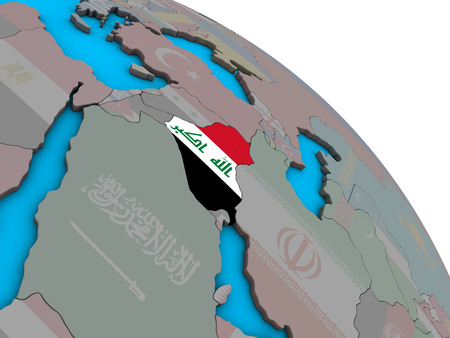 Iraq with embedded national flag on simple blue political 3D globe. 3D illustration.