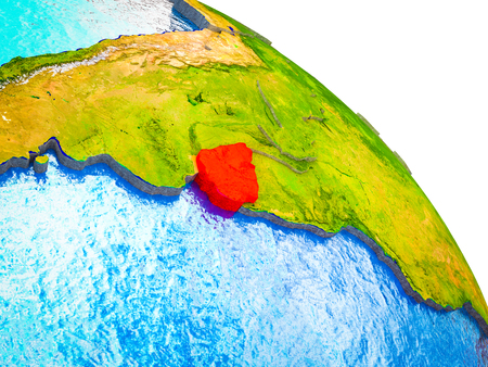 Uruguay Highlighted on 3D Earth model with water and visible country borders. 3D illustration.