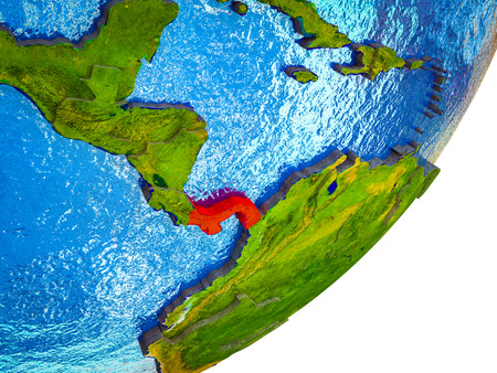 Panama on 3D model of Earth with water and divided countries. 3D illustration.