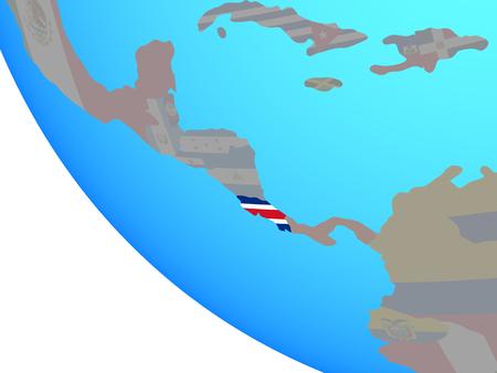 Costa Rica with national flag on simple globe. 3D illustration. 版權商用圖片
