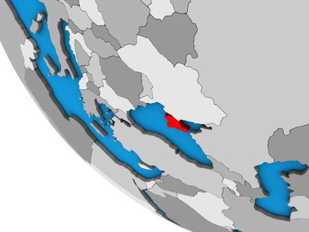 Crimea on simple 3D globe. 3D illustration.