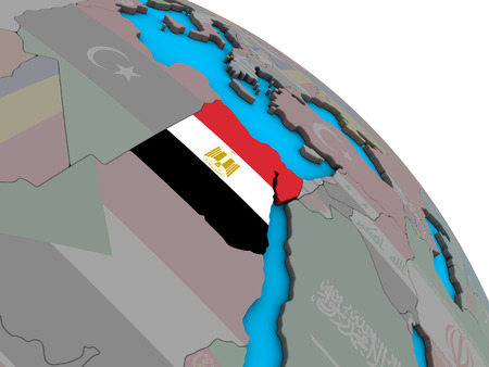 Egypt with embedded national flag on simple blue political 3D globe. 3D illustration.
