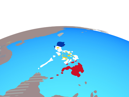 Philippines with national flag on political globe. 3D illustration.