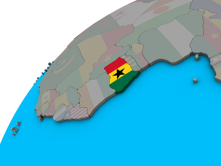 Ghana with national flag on 3D globe. 3D illustration.