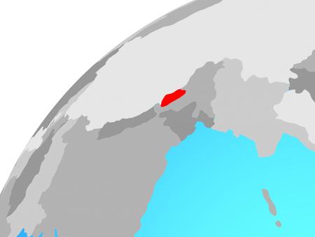 Bhutan on globe. 3D illustration.