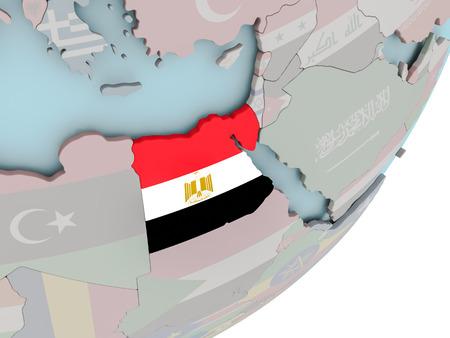 3D render of Egypt on political globe with embedded flag. 3D illustration.