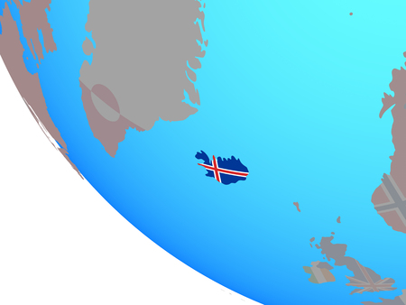 Iceland with national flag on simple globe. 3D illustration.