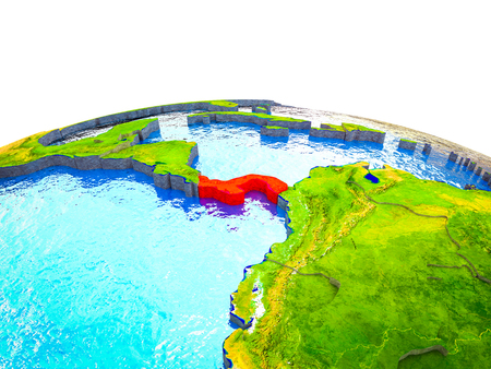 Panama on 3D Earth with visible countries and blue oceans with waves. 3D illustration.