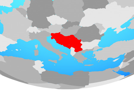 Yugoslavia on simple political globe. 3D illustration.