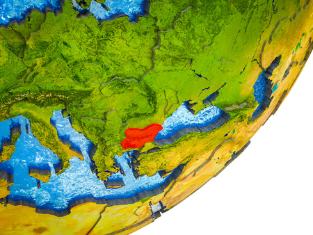 Bulgaria on 3D model of Earth with water and divided countries. 3D illustration.