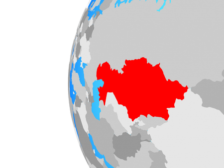 Kazakhstan on blue political globe. 3D illustration.