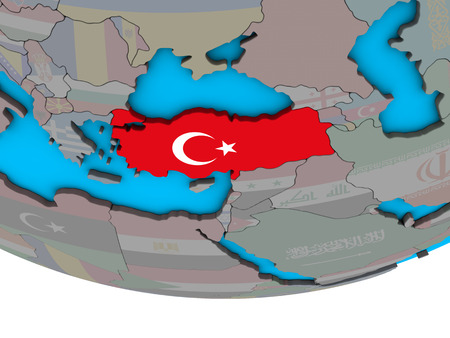 Turkey with embedded national flag on simple political 3D globe. 3D illustration.