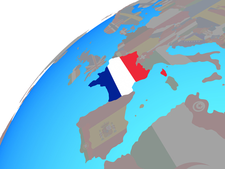 France with embedded national flag on globe. 3D illustration. Stock Photo