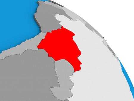 Bolivia on simple blue political 3D globe. 3D illustration.