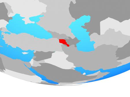 Armenia on simple political globe. 3D illustration.