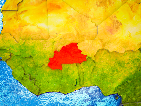 Burkina Faso on model of 3D Earth with blue oceans and divided countries. 3D illustration.