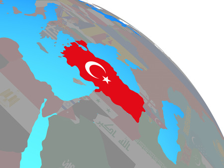 Turkey with national flag on simple blue political globe. 3D illustration.