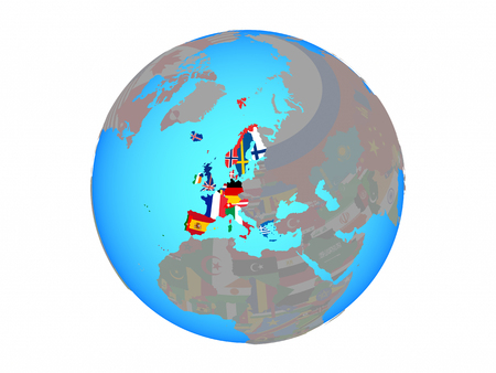 Western Europe with national flags on blue political globe. 3D illustration isolated on white background.