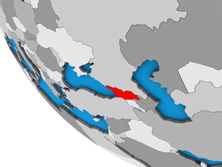 Georgia on simple 3D globe. 3D illustration. Reklamní fotografie