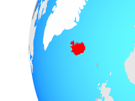 Iceland on blue political globe. 3D illustration.