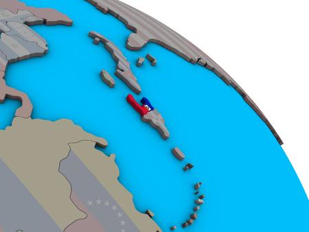 Haiti with embedded national flag on simple blue political 3D globe. 3D illustration. Stock Photo