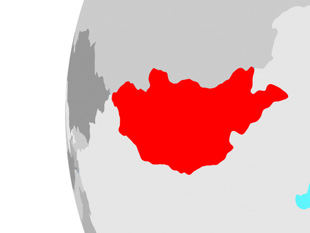 Mongolia on blue political globe. 3D illustration. Stockfoto