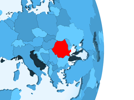 Romania in red on simple blue political globe with visible country borders and transparent oceans. 3D illustration.
