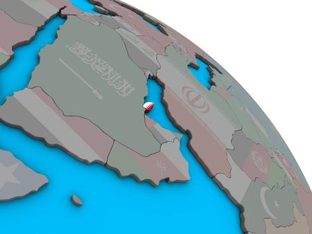 Qatar with embedded national flag on simple blue political 3D globe. 3D illustration.