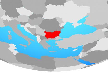 Bulgaria on simple political globe. 3D illustration. 版權商用圖片