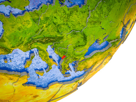 Montenegro on 3D model of Earth with water and divided countries. 3D illustration.