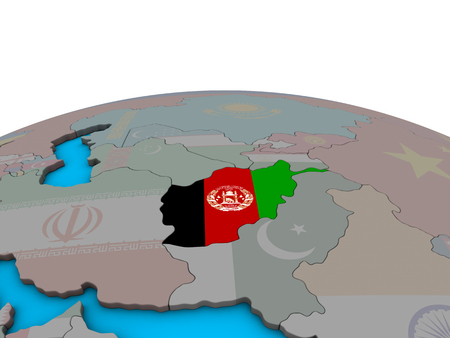 Afghanistan with embedded national flag on political 3D globe. 3D illustration. Stock Photo