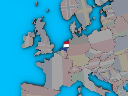 Netherlands with embedded national flag on blue political 3D globe. 3D illustration.