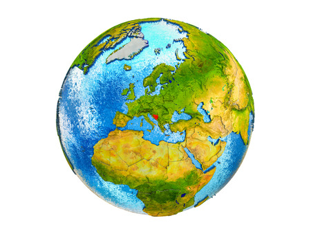 Bosnia and Herzegovina on 3D model of Earth with country borders and water in oceans. 3D illustration isolated on white background.