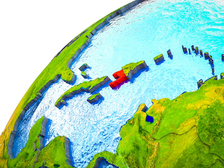 Haiti on 3D Earth model with visible country borders. 3D illustration. Stock Photo