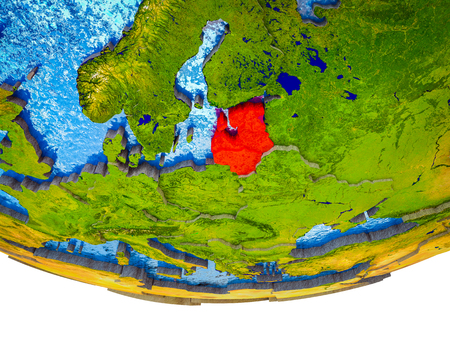 Baltic States on 3D Earth with divided countries and watery oceans. 3D illustration. Stock Photo