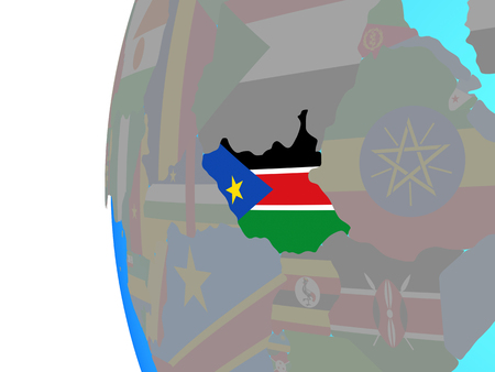 South Sudan with embedded national flag on blue political globe. 3D illustration.