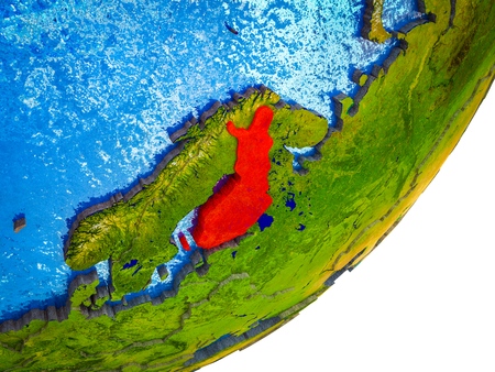 Finland on 3D model of Earth with water and divided countries. 3D illustration. 写真素材