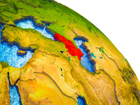 Caucasus region Highlighted on 3D Earth model with water and visible country borders. 3D illustration.