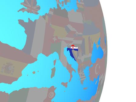Croatia with national flag on simple political globe. 3D illustration.