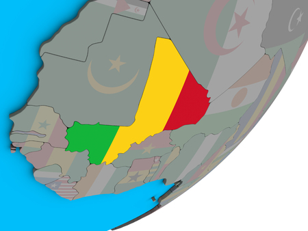 Mali with national flag on blue political 3D globe. 3D illustration.