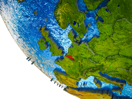 Belgium on model of Earth with country borders and blue oceans with waves. 3D illustration. Imagens