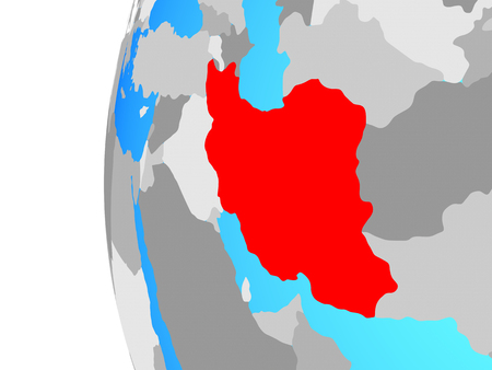 Iran on blue political globe. 3D illustration.