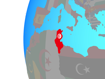 Tunisia with embedded national flag on blue political globe. 3D illustration.
