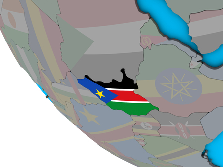 South Sudan with embedded national flag on simple 3D globe. 3D illustration. 스톡 콘텐츠 - 112738347