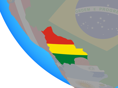 Bolivia with national flag on simple globe. 3D illustration.