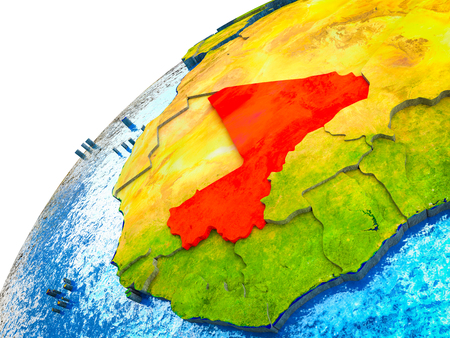 Mali on 3D Earth model with visible country borders. 3D illustration.