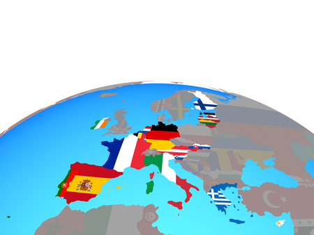 Eurozone member states with national flags on political globe. 3D illustration. Stock Photo
