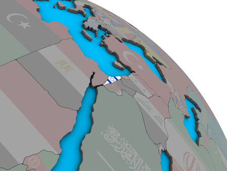Israel with embedded national flag on simple blue political 3D globe. 3D illustration.