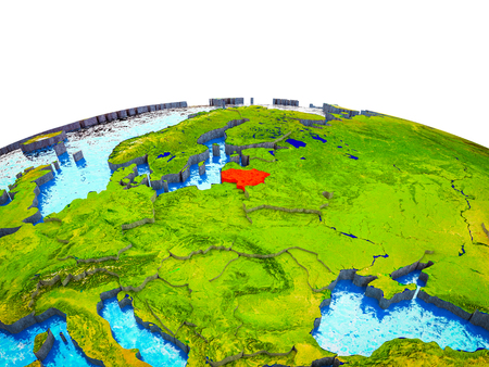 Lithuania on 3D Earth with visible countries and blue oceans with waves. 3D illustration.