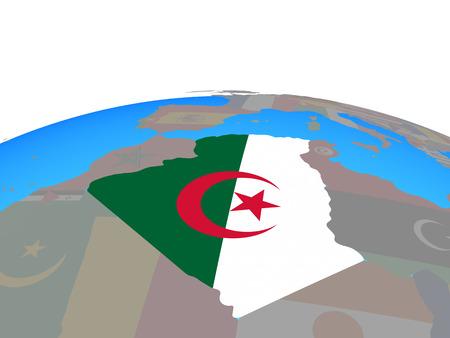 Algeria with national flag on political globe. 3D illustration. Stock Photo
